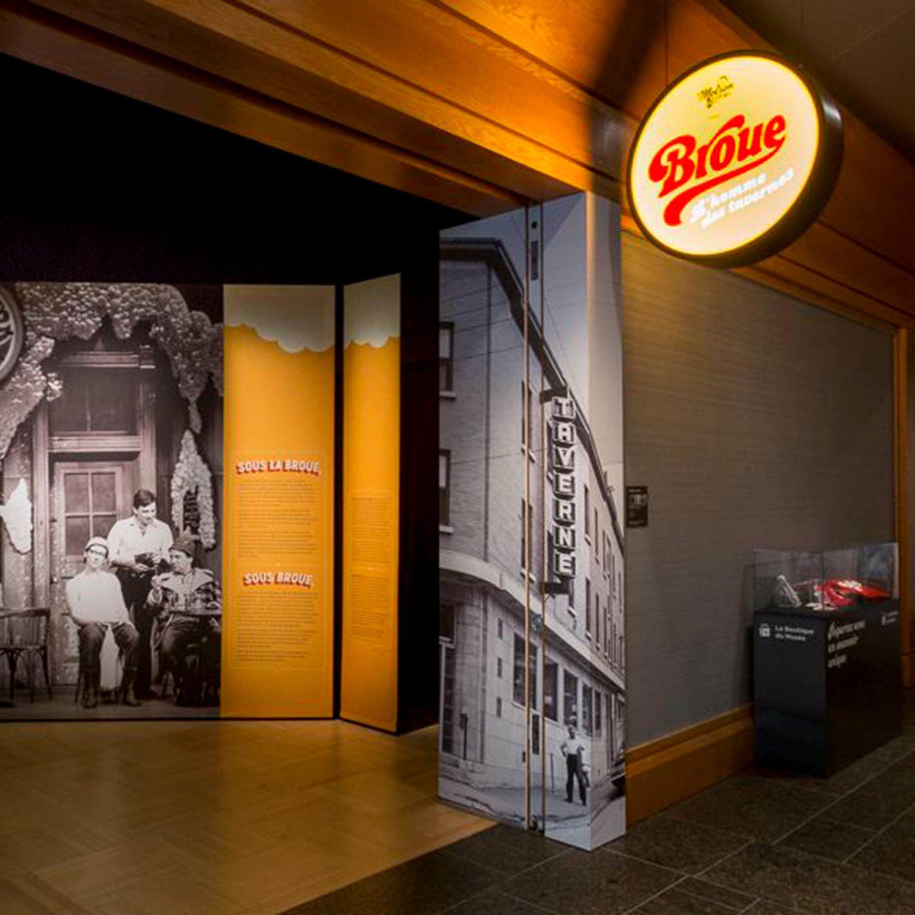 Photographie de l'entrée de l'exposition Broue, l'homme des tavernes, présentée par Molson Export.